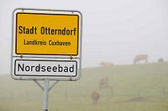 Stadtgrenze / Ortsschild Stadt Otterndorf, Landkreis Cuxhaven - Nordseebad; im Hintergrund Kühe auf dem Deich im Nebel.