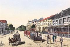 Pferdekutsche / Eisenbahn - Hotel Stadt Hamburg; historisches Motiv aus Wandsbek.