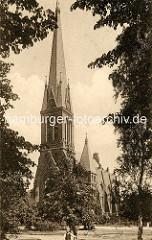Historische Aufnahme von der 1901 erbauten Christuskirche in der Stadt Wandsbek / Architekt Fernando Lorenzen.