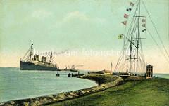 Colorierte Darstellung der Alten Liebe in Cuxhaven - ein Passagierschiff liegt auf Reede; Marinesignalstation.