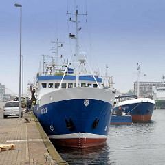 Fischfangboot / Trawler Bianca NC 312 am Hansakai in Cuxhaven.