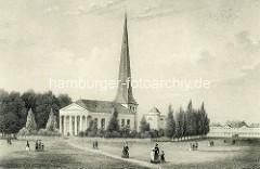 Historische Aufnahme der Christuskirche in der Stadt Wandsbek am Wandsbeker Markt, erbaut 1800 im klassizistischen Baustil - Architekt  Johann August Arens / abgebrannt 1898.