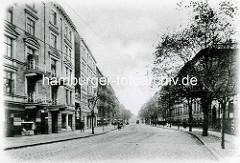 Hamburg Rothenburgsort in der Vorkriegszeit: Blick in den Vierländer Damm; Mehrstöckige Wohnblocks / Arbeiterwohnungen.