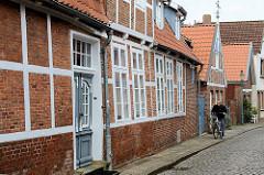 Historische Wohnhäuser - Fachwerkgebäude in der Innenstadt von Otterndorf.