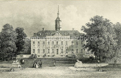Historisches Bild vom Wandsbeker Schloß - Löwenfiguren an der Auffahrt, SpaziergängerInnen. Das spätbarocke Herrenhaus wurde 1861 abgerissen.