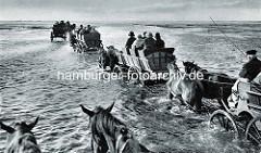 Historische Ansicht von Wattwagen im Wasser - Personenwagen mit Touristen von Pferden gezogen auf den Weg zur Insel Neuwerk.