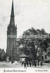 Historische Ansicht der St. Thomaskirche in Hamburg Rothenburgsort - erbaut 1885.