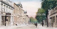 Historische Darstellung der Wandsbeker Königstraße - Geschäft Glaserei, Glashandlung - Bilderrahmen  - altes Rathaus.