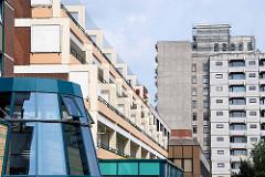 Großwohnsiedlung Hamburg Mümmelmannsberg - Stadtteil Billstedt; erbaut zwischen 1970 und 1979 / Architektur der 1980er Jahre.