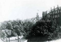 Historische Ansicht vom Veddeler Elbdeich  auf der Hamburger Veddel - Wohnhäuser + Blick auf das Portal der Elbbrücken.