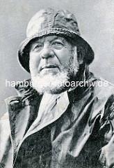 Altes Bild eines Fischers in Ölzeug aus Cuxhaven / Deutschland.