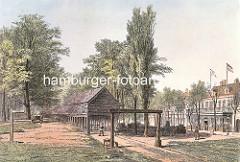 Historische colorierte Darstellung der Arbeit von Taumachern und Seilern auf der Hamburger Reeperbahn.