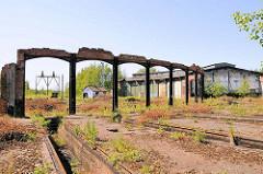 Ehem. Bahnanlage Hamburg Wilhelmsburg - stillgelegt nach der Inbetriebnahme des Rangierbahnhofs Maschen um 1980.