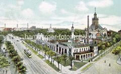 Historische colorierte Ansicht vom Vergnügungslokal Trichter + Ludwigs Concerthaus in Hamburg St. Pauli - Blick zum Millerntor.