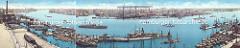 Historisches Panorama vom Altonaer Hafen; Werften im Hamburger Hafen.