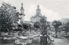Historisches Bild vom Konzertgarten Carl Clausen / vormals Hornhardt am Zirkusweg in Hamburg St. Pauli - lks. der 22 m hohe Aussichtsturm.