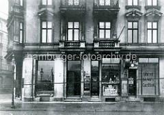 Historische Ansicht vom Sieldeich / Ecke Tunnelstraße auf der Hamburger Veddel - Geschäft Uhren Goldwaren.