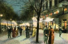 Historische, farbige Darstellung von der Hamburger Reeperbahn bei Nacht - Passanten auf dem Fussweg, Frauen mit Blumen - Hüten / Strohhut.