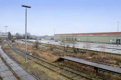 Gleisanlagen am Überseezentrum in Hamburg Kleiner Grasbrook Holthusenkai / Moldauhafen.