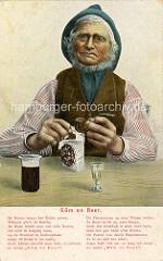 Norddeutscher Fischer, weisser Bart - Schifferkrause, Backenbart. Der Mann mit Weste und Mütze stopft seine Pfeife; Bierglas + Schnapsglas auf dem Tisch.