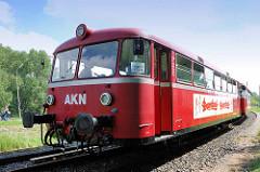 Historischer Triebwagen VT 3.09, erbaut 1967 für die EBOE - Elmshorn-Barmstedt-Oldesloer Eisenbahn - Ende der 1990er Jahre zum Partyzug umgebaut.