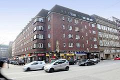 Blick über die Steinstraße zur Mohlenhofstraße in der Hamburger Altstadt / Kontorhausviertel, Straßenverkehr.