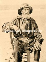 Historische Fotografie - alter Fischer mit weissem Bart - Blankenberghe / Belgien.