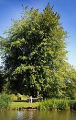 Erholung am Ufer des Aßmannkanals - ein Besucher der Grünanlage entlang des Kanalufers hat sich auf eine Parkbank unter einen Baum in die Sonne gesetzt.