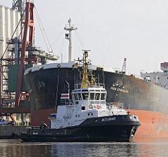 Der 31m lange und fast 4000 PS ( 2900 KW) starke Schlepper ACCURAT unterstützt den Massengutfrachter IRAN KHORASAN bei dem Anlegemanöver im Reiherstieg.