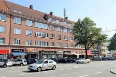 Einzelhandelsgeschäfte an der Fuhlsbütteler Straße in Hamburg Barmbek Nord; Schlichte Architektur der 1960er Jahre