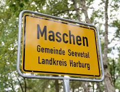 Ortsschild Maschen, Gemeinde Seevetal - Landkreis Harburg.