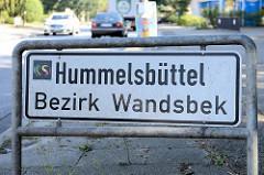 Ortsschild Hamburg Hummelsbüttel - Bezirk Wandsbek.