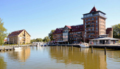 Alter Kornspeicher / historische Industriearchitektur am Stadthafen von Neustrelitz - jetzt Nutzung als Hotel + Wohnungen.