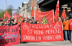 Faschismus ist keine Meinung sondern ein Verbrechen - IGM Jugend, Demonstration in Hamburg Barmbek.