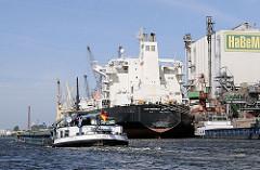 Der Massengutfrachter IRAN KHORASAN hat am Reiherstiegkai der HaBeMa Futtermittelmühle in Hamburg Wilhelmsburg festgemacht. Das Binnenschiff CLAUDIA kommt von der Reiherstiegschleuse.