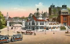 Historische Ansicht vom Hamburger St. Pauli Fährhaus bei den Landungsbrücken - re. der Eingang der Hochbahnstation Landungsbrücken, dahinter das Gebäude der Seewarte. Lks. die Kersten Miles Brücke.