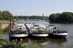 Drei Hamburger Binnenschiffe liegen im Peuter Hafen; auf dem gegenüber liegenden Seite der Elbe die Anleger der ehem. Zollstation von Entenwerder.