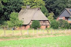 Blick über die Wiesen und Felder bei Maschen, Fachwerkhaus mit Reetdach zwischen Bäumen.