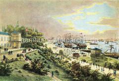 Farbige historische Hamburger Ansicht von den Landungsbrücken und dem Niederhafen.