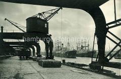 Historische Ansicht vom Amerikakai im Hamburger Segelschiffhafen. Portalkräne überspannen die Kaistraße.