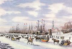 Hamburgensie von der Elbe  bei Hamburg im Winter - ca. 1834. Schlittenfahrt mit Pferd auf dem Eis, andere HamburgerInnen gehen zu Fuß.