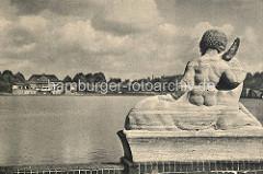 Historische Aufnahme aus dem Hamburger Stadtpark, Blick  von der Liebesinsel über den Stadtparksee.