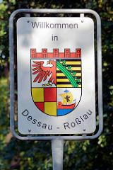 Stadtschild von Dessau-Roßlau - Wappen der Stadt.