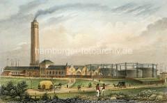 Alte  Darstellung der Gasfabrik auf dem Grasbrook in Hamburg.