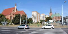 Blick auf die Altstadt Stettins - lks. die St.-Johannes-Evangelist-Kirche (Johanneskirche) in  Stettin - gotisches Bauwerk ursprünglich aus dem 13. Jahrhundert.