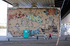 Graffiti am Träger einer Brücke über die Oder in Stettin.
