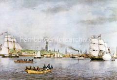 Blick über die Elbe zum Hamburger Hafen um 1834;  Segelschiffen und Ruderboote  fahren auf der Elbe.