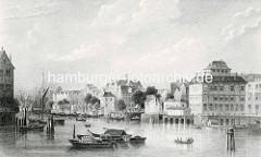 Historische Darstellung vom Hamburger Niederhafen am Baumwall um 1850.