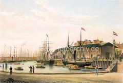 Hamburgensie vom Sandtorhafen in Hamburg. Bei seiner Eröffnung 1866 war der Sandtorhafen das erste künstlich geschaffene Hafenbecken.