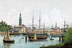Farbige / colorierte Hamburgensie  vom Hamburger Hafen; Blick von Steinwerder über den Niederhafen.